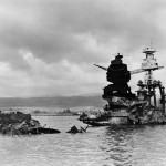 View of the sunken U.S. Navy battleship USS Arizona (BB-39) three days after the Japanese attack.