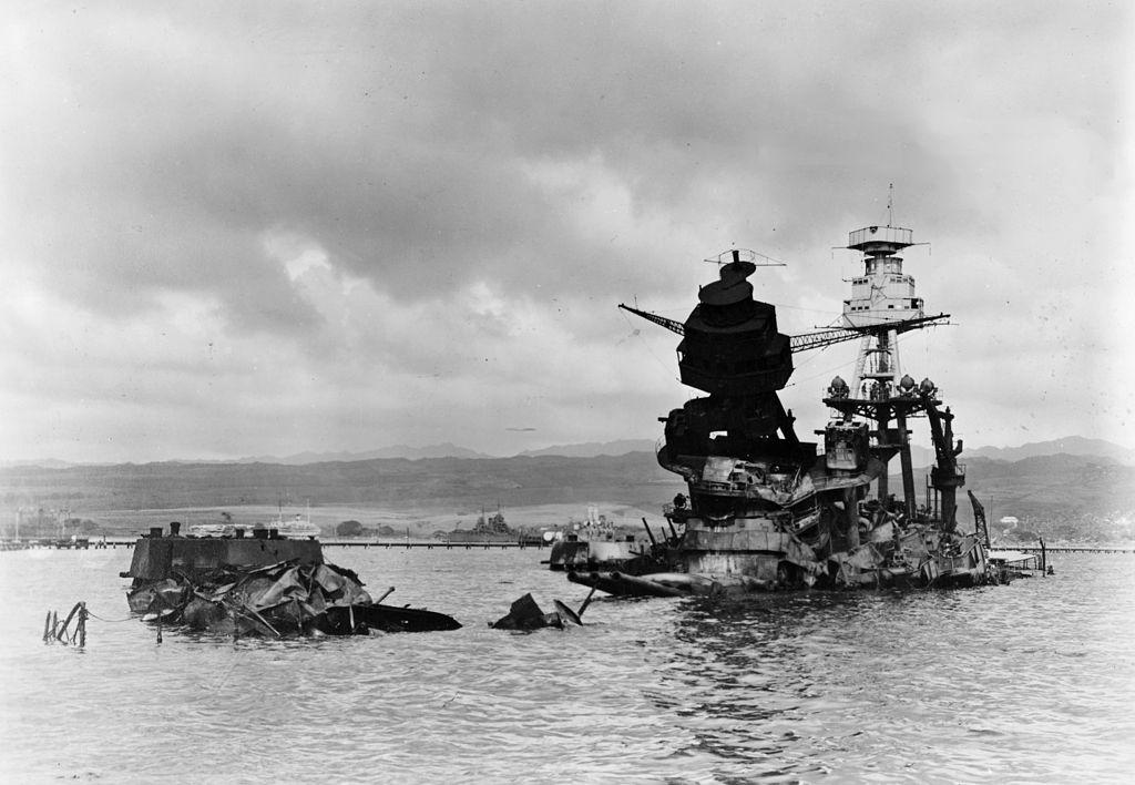 View of the sunken U.S. Navy battleship USS Arizona (BB-39) three days after the Japanese attack.