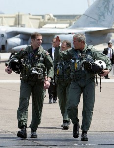 President Bush after landing on the USS Abraham Lincoln. He made the landing with a pilot, a secret service agent and a reserve pilot.