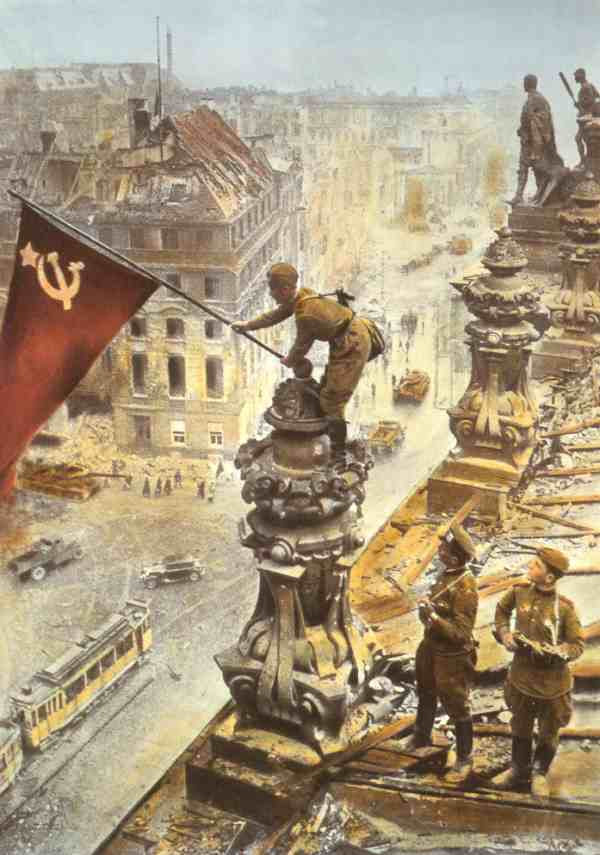 Colorized picture of Soviet flag over Reichstag