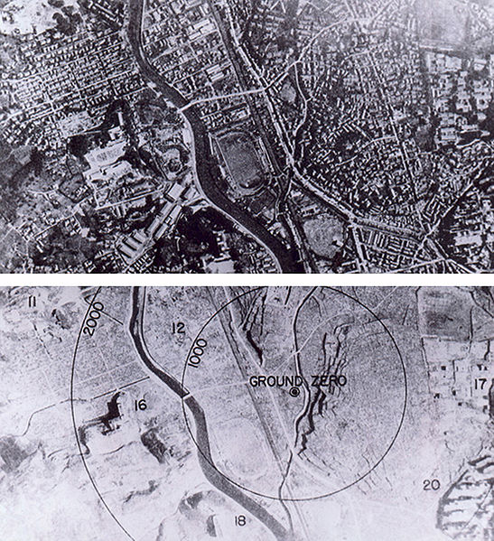 Nagasaki, Japan, before and after the atomic bombing of August 9, 1945.