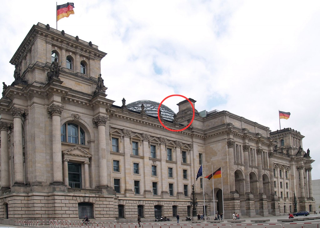 Reichstag and location of the flag raising copy