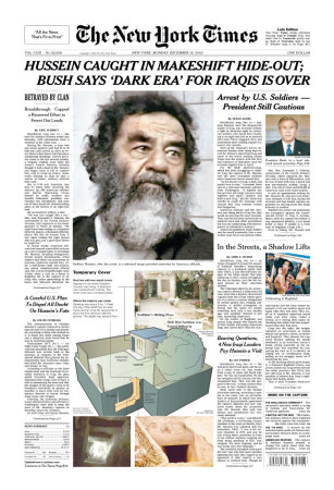 Saddam Captured New York Times Cover