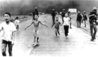 Girl running after Vietnamese village was bombed