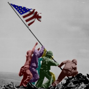 Iwo Jima flag raising color legend