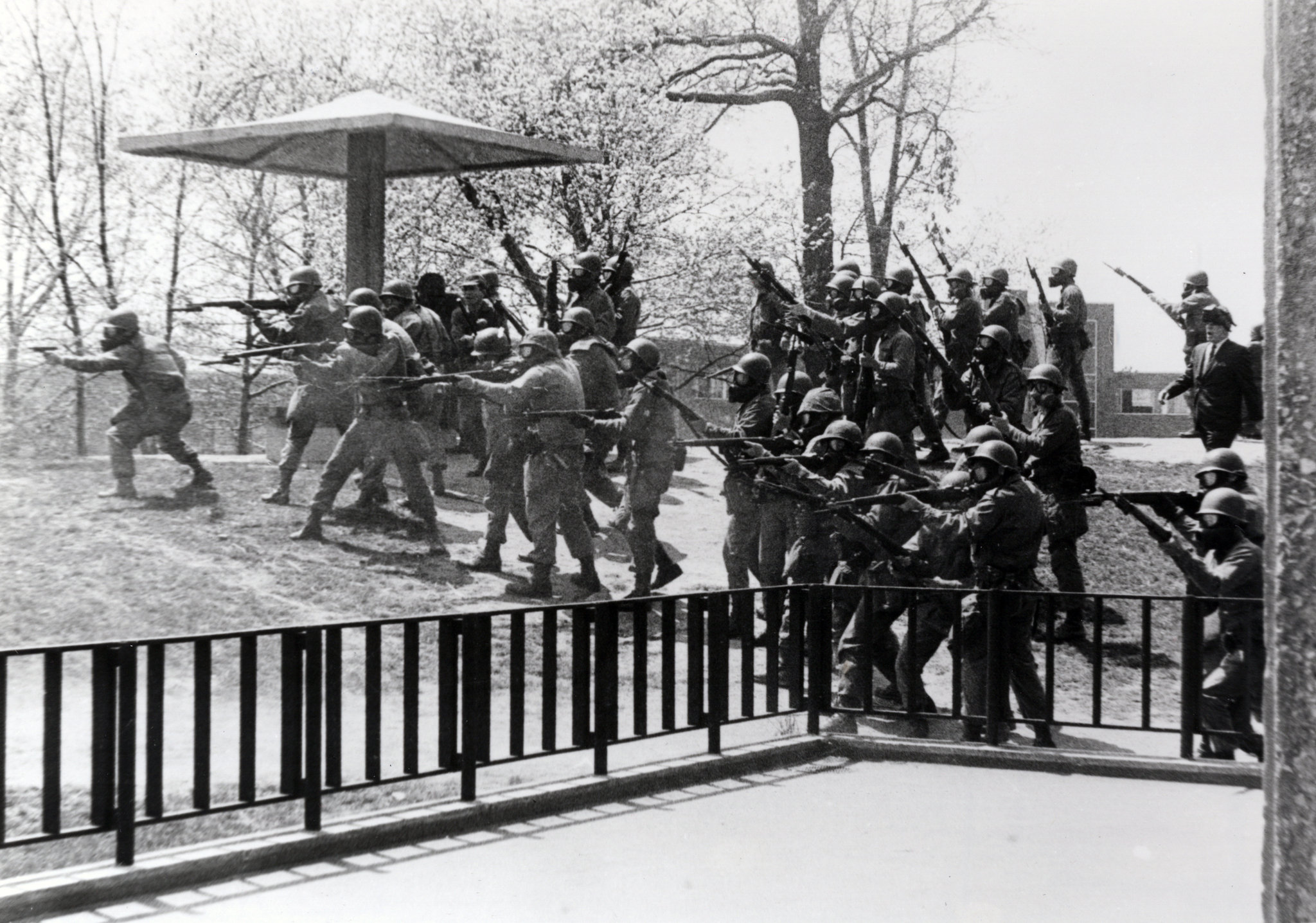 Kent State University students during an anti-war protest on May 4, 1970