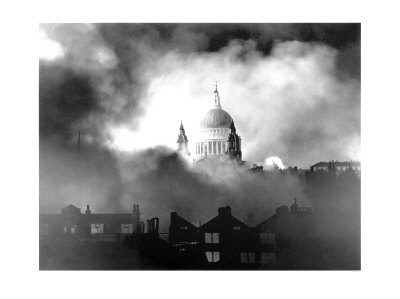 St Paul's Cathedral during the German bombing campaign called the Blitz