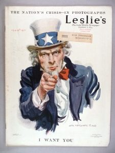Uncle Sam points from the cover of Leslie's Magazine Feb 15 1917
