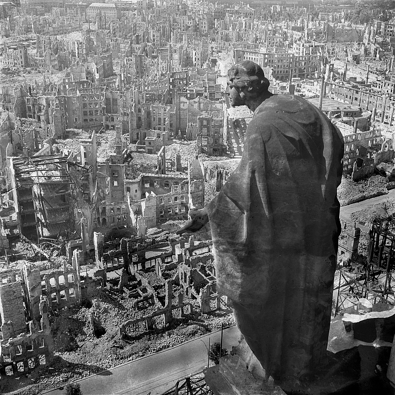 A statue on the Rathausturm overlooks a destroyed Dresden Richard Peters