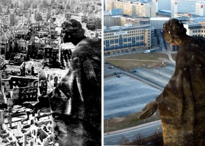On the left Dresden in 1945 by Richard Peter and on the right Dresden in 2005 by Matthias Rietschel (AP)