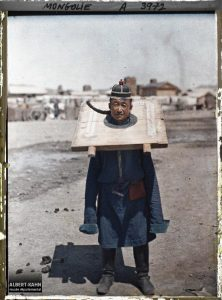 Convict in a wooden straitjacket, Mongolia, July 24, 1913